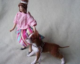 Ooak Miniature Dollhouse 1:12 scale American pit bull terrier  by Malga