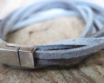 Leather Bracelet leather grey silber bracelet boho ethnic