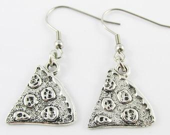 Pizza Slice Charm Hook Earrings 42mm Stainless Steel Hooks