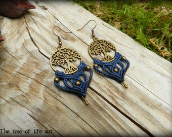 Macrame boho earrings/Tree of life earrings/Tribal macrame/Micromacrame/Elven jewelry/Ethnic/Red earrings/Thetreeoflifeart