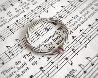 Silver Guitar String Ring with color accent