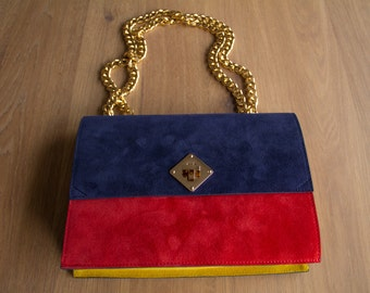 SALE! Handmade Navy Blue Red Yellow Suede Clutch / Blue Red Yellow Shoulder Bag /  Clutch Bag / Gold Chain Shoulder Bag / Suede Shoulder Bag