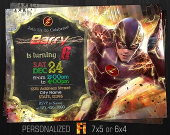 Flash Invitation, Flash Birthday Party, Run, Fast, The Fastest Man, Barry Allen, Marvel Comics, Speed, Personalized, Printable, Digital File