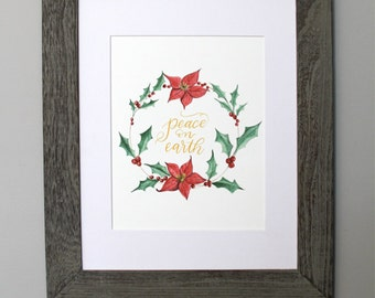 Christmas printable - Holiday printable - watercolor wreath - Christmas watercolor holly poinsettia painting - Peace on Earth