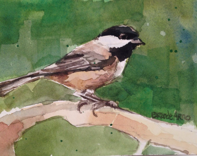5 x 7 inch Chickadee Watercolor Original Painting, Chickadee Painting, Small Watercolor Chickadee, Chickadee Painting, Brande Arno Painting