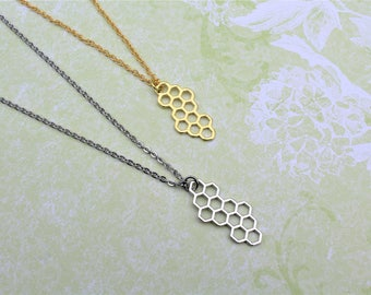 Honeycomb necklace, silver gold honeycomb, honeycomb pendant, simple everyday necklace, geometric jewelry