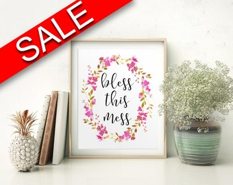 Wall Art Bless This Mess Digital Print Bless This Mess Poster Art Bless This Mess Wall Art Print Bless This Mess Kitchen Art Bless This Mess