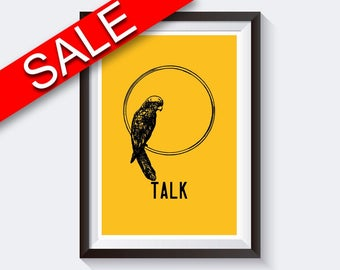 Wall Art Parrot Digital Print Talk Poster Art Parrot Wall Art Print Talk Bedroom Art Talk Bedroom Print Parrot Wall Decor Parrot animal