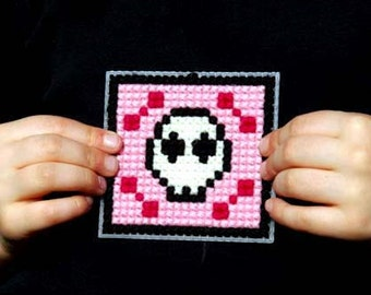 Kids Cross Stitch Kit Children Pink Skull