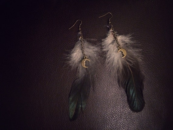 Bohemian Feather Earrings Hippie Hipster Earrings Moon Earrings Moonchild Bronze Boho
