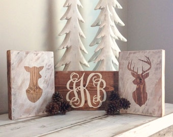 Buck and Doe- Wood Block Signs- Wood Sign Custom- Personalized Wood signs- Woodland- Monogram Wood Initials