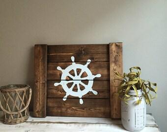 Ship Wheel- Nautical- Nautical Decor- Ocean Decor- Coastal Decor- Nautical Nursery Decor- Anchor Bathroom Decor- Rustic Nautical
