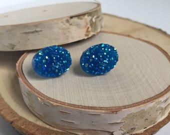 Druzy Earrings - Oval