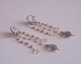Gleaming Silver earrings with smoky quartz and cubic zirconia antique pink drops.