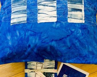 DIY Arashi Shibori Pillow Top Kit for Sashiko Inspired Stitching