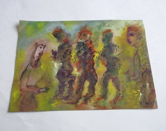 vintage 80's original pastel and watercolor painting, signed