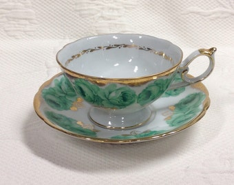 """Cup and saucer """"Shafford"""" with gilding, handpainted - green Roses / / made in the Japan"""