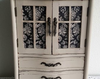 Jewelry Box, Large Jewelry Armoire, Shabby Chic Hand Painted, Wooden, Decorative Paper, Jewelry Organizer, Gift for Her