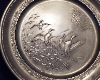 "Pewter Plate. Vintage Handegossen 1563526 Geese Nature Sceen 8.5"" diameter. Florida room. Cabin decor. TwoCsVintage."