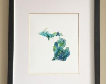 "Michigan Watercolor Print, 8x10"" Giclée Print"