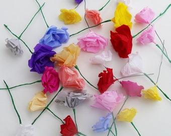Créez votre propre bouquet de roses en papier, Fleurs en papier, Roses en papier, Bouquet mariage, Décoration maison, Demoiselle d'honneur