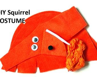 DIY squirrel costume kit, kid craft kit, squirrel costume, animal costume, kid costume, kids dress up, gift for kids, diy kids Halloween kit