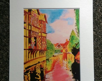 """The Great Stour in Pink – A4 or 7""""x5"""" Print of an Original Painting by Bryan"""