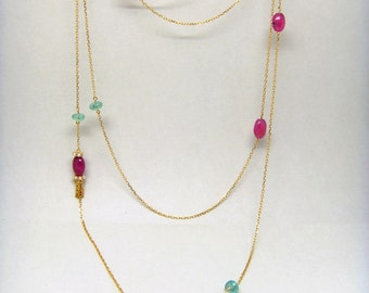 18K gold natural ruby  and emerald  90cm Necklace beads Sweater chain Long necklace