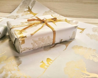 Enchanted Forest | Gift Wrap | Gold | Metallic | Illustrated Paper | Woodland Wrapping Paper | Gift | Christmas | Wedding | Wrapping Paper