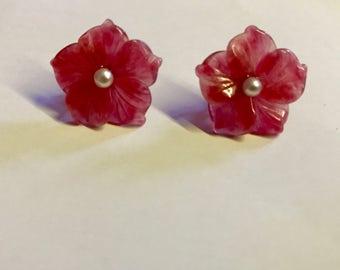 Agate Flower Earrings