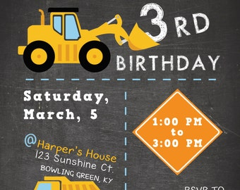 "Kid's Construction Theme Invitation, ""The Harper"" (Digital Print File)"