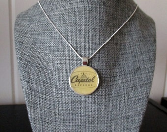 """Recycled vinyl record sleeve necklace - Capitol Records!"""""""