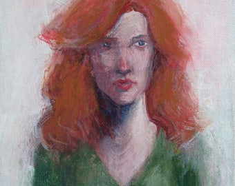 Original Portrait Painting 'Orange and Green'