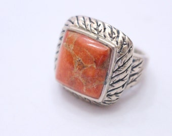 Enhanced Sponge Coral 925 Sterling Silver Ring Size 6