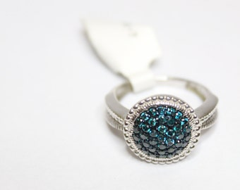 0.50ctw Round Blue Diamond Ring Size 7 925 Sterling Silver