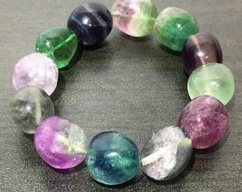 Stunning Fluorite Bracelet for Protection and Upper Chakras (Heart, Throat, Crown, Third Eye)