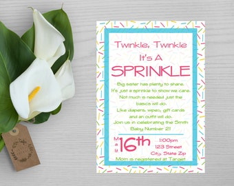 Twinkle Twinkle It's a Sprinkle Baby Shower Invitation-Sprinkle Shower Invitation-Baby Shower Sprinkle Invitation-Sprinkle Baby Shower