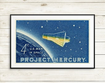 astronauts, christmas gifts for husband, science poster art, science gifts, space gifts for him, for her, project mercury, john glenn