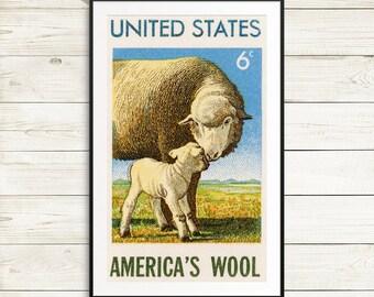 Sheep clipart, farm animal clipart, lamb clipart, sheep poster, lamb painting, sheep illustration, farmers market, funny kitchen signs print