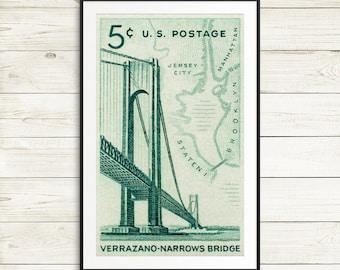varrazano bridge wall art, new york city posters, brooklyn NY posters, manhattan art, staten island, new york gift ideas, brooklyn posters
