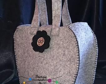 Grey felt handmade handbag