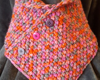 Handmade crochet cowl or neck warmer in pink, grey and orange pastel chunky yarn with decorative buttons