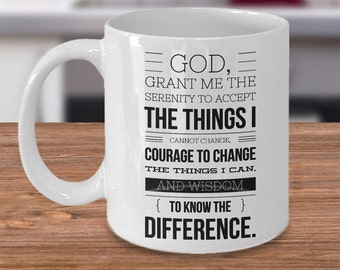 Serenity Prayer (Front) Progress, Not Perfection (Back) Mug - Ceramic AA Coffee Cup Sobriety Gift Sponsor Gift Sponsee Gift Recovery Gift