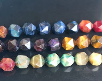 6mm 8 mm 10mm 12mm beads,Faceted Tourmaline Tigereye Beads, 15 inch strands