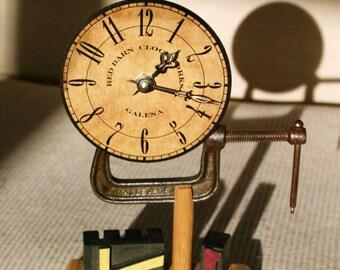 Antique Vise & Wood Letterpress Type Clock - 71