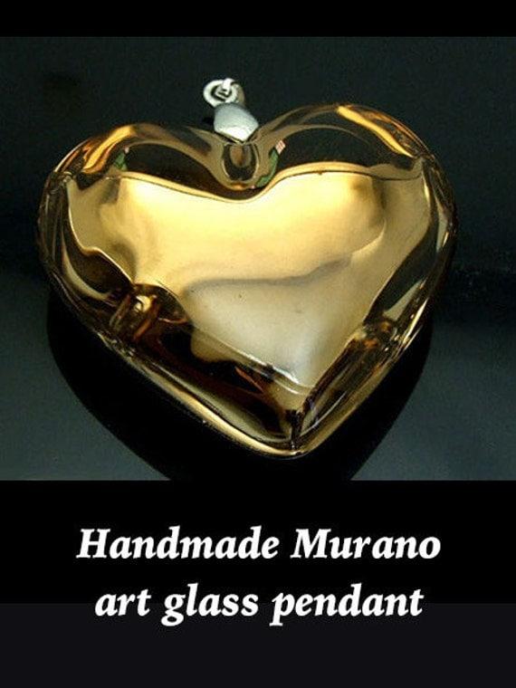 Murano Pendant, Art Glass in Gold **FREE U.S. SHIPPING**