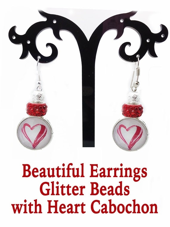Valentine Heart Earrings with Glitter Beads **FREE U.S. SHIPPING**