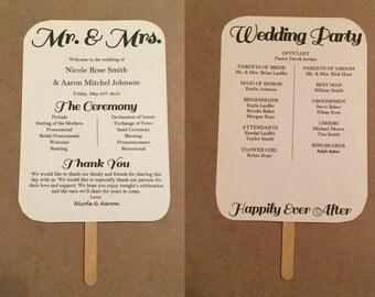 Printable Wedding Fan Program 5x7, Digital Template