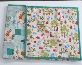 Baby Patchwork Quilt, Free Shipping! Tummy Time, Play Mat, Porta Cot Blue Green light weight -  Baby Shower Reversible