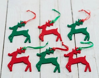 Reindeer Christmas Decorations Set of Six Red & Green